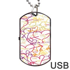Love Heart Valentine Rainbow Color Purple Pink Yellow Green Dog Tag USB Flash (One Side)