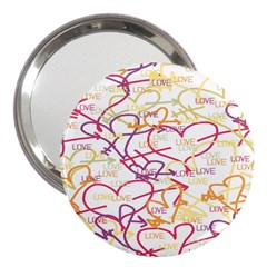 Love Heart Valentine Rainbow Color Purple Pink Yellow Green 3  Handbag Mirrors