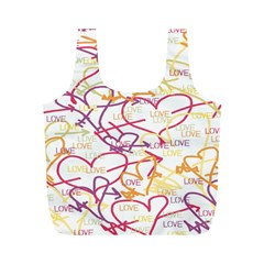 Love Heart Valentine Rainbow Color Purple Pink Yellow Green Full Print Recycle Bags (M)