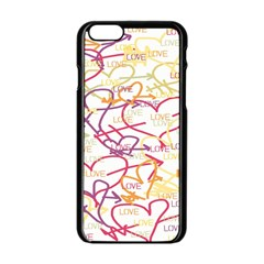 Love Heart Valentine Rainbow Color Purple Pink Yellow Green Apple iPhone 6/6S Black Enamel Case