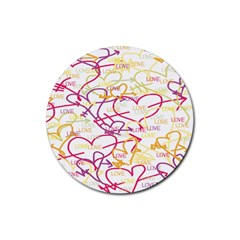 Love Heart Valentine Rainbow Color Purple Pink Yellow Green Rubber Coaster (Round)