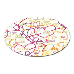 Love Heart Valentine Rainbow Color Purple Pink Yellow Green Oval Magnet