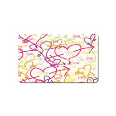 Love Heart Valentine Rainbow Color Purple Pink Yellow Green Magnet (Name Card)