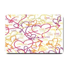 Love Heart Valentine Rainbow Color Purple Pink Yellow Green Small Doormat