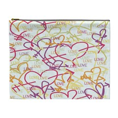Love Heart Valentine Rainbow Color Purple Pink Yellow Green Cosmetic Bag (XL)