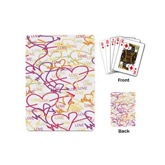 Love Heart Valentine Rainbow Color Purple Pink Yellow Green Playing Cards (Mini)