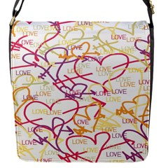 Love Heart Valentine Rainbow Color Purple Pink Yellow Green Flap Messenger Bag (S)