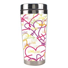 Love Heart Valentine Rainbow Color Purple Pink Yellow Green Stainless Steel Travel Tumblers