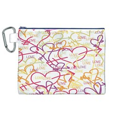 Love Heart Valentine Rainbow Color Purple Pink Yellow Green Canvas Cosmetic Bag (XL)