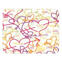 Love Heart Valentine Rainbow Color Purple Pink Yellow Green Double Sided Flano Blanket (Large)