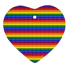 Love Valentine Rainbow Red Purple Blue Green Yellow Orange Ornament (heart)