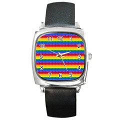 Love Valentine Rainbow Red Purple Blue Green Yellow Orange Square Metal Watch
