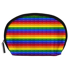 Love Valentine Rainbow Red Purple Blue Green Yellow Orange Accessory Pouches (Large)