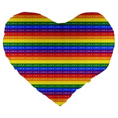 Love Valentine Rainbow Red Purple Blue Green Yellow Orange Large 19  Premium Flano Heart Shape Cushions