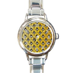 Original Honey Bee Yellow Triangle Round Italian Charm Watch