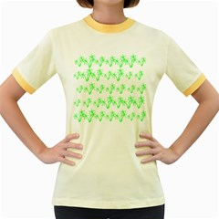 Palm Tree Coconute Green Sea Women s Fitted Ringer T-Shirts