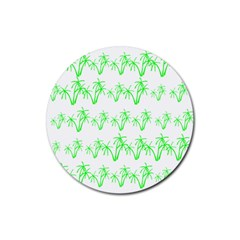 Palm Tree Coconute Green Sea Rubber Round Coaster (4 pack)