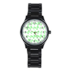 Palm Tree Coconute Green Sea Stainless Steel Round Watch