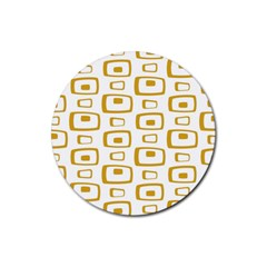Plaid Gold Rubber Round Coaster (4 pack)