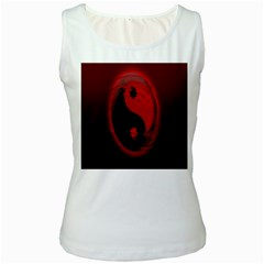 Red Black Taichi Stance Sign Women s White Tank Top