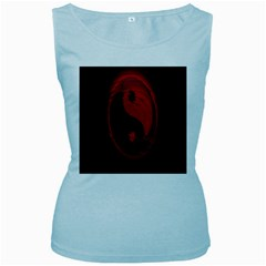 Red Black Taichi Stance Sign Women s Baby Blue Tank Top