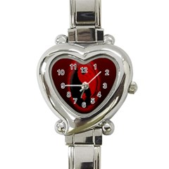 Red Black Taichi Stance Sign Heart Italian Charm Watch