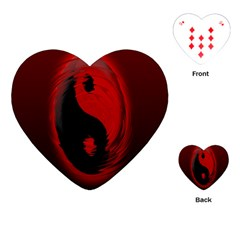 Red Black Taichi Stance Sign Playing Cards (Heart)