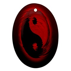 Red Black Taichi Stance Sign Oval Ornament (Two Sides)