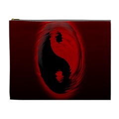 Red Black Taichi Stance Sign Cosmetic Bag (XL)