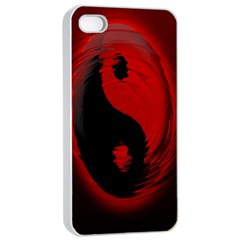 Red Black Taichi Stance Sign Apple iPhone 4/4s Seamless Case (White)