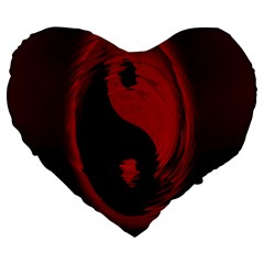 Red Black Taichi Stance Sign Large 19  Premium Heart Shape Cushions