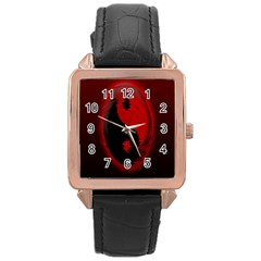 Red Black Taichi Stance Sign Rose Gold Leather Watch