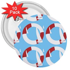 Sail Summer Buoy Boath Sea Water 3  Buttons (10 pack)