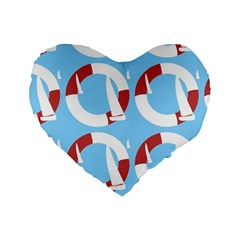 Sail Summer Buoy Boath Sea Water Standard 16  Premium Flano Heart Shape Cushions