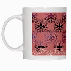 Overlays Pink Flower Floral White Mugs