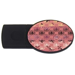 Overlays Pink Flower Floral USB Flash Drive Oval (1 GB)