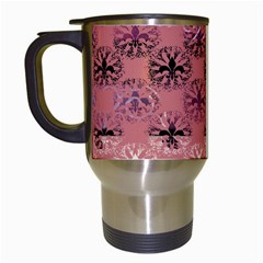 Overlays Pink Flower Floral Travel Mugs (White)