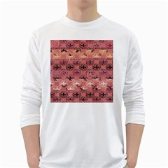 Overlays Pink Flower Floral White Long Sleeve T-Shirts