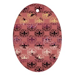Overlays Pink Flower Floral Oval Ornament (Two Sides)