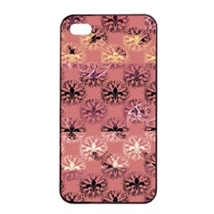Overlays Pink Flower Floral Apple iPhone 4/4s Seamless Case (Black)