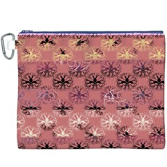 Overlays Pink Flower Floral Canvas Cosmetic Bag (XXXL)