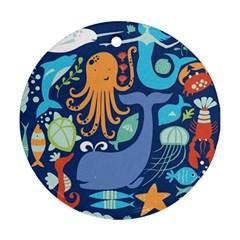 Sea Life Ikan Paus Duyung Kepiting Udang Ubur Ubur Penyu Karang Ornament (Round)