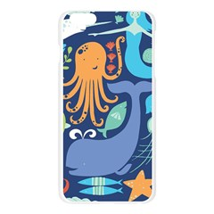 Sea Life Ikan Paus Duyung Kepiting Udang Ubur Ubur Penyu Karang Apple Seamless iPhone 6 Plus/6S Plus Case (Transparent)