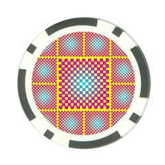 Rotational Plaid Purple Blue Yellow Poker Chip Card Guard