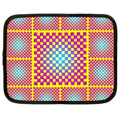 Rotational Plaid Purple Blue Yellow Netbook Case (Large)