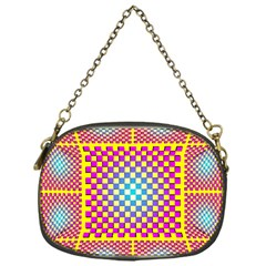 Rotational Plaid Purple Blue Yellow Chain Purses (One Side)