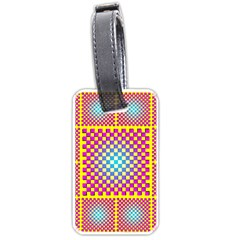 Rotational Plaid Purple Blue Yellow Luggage Tags (Two Sides)
