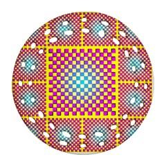 Rotational Plaid Purple Blue Yellow Ornament (Round Filigree)