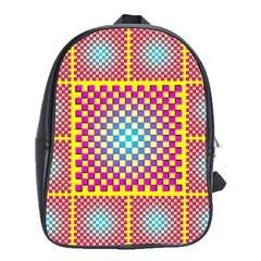 Rotational Plaid Purple Blue Yellow School Bags (XL)