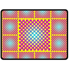 Rotational Plaid Purple Blue Yellow Double Sided Fleece Blanket (Large)
